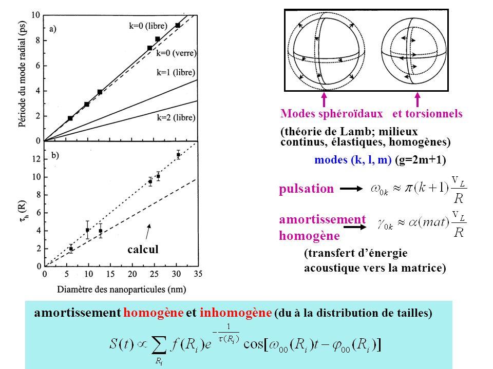 amortissement homogène et inhomogène (du à la distribution de tailles)