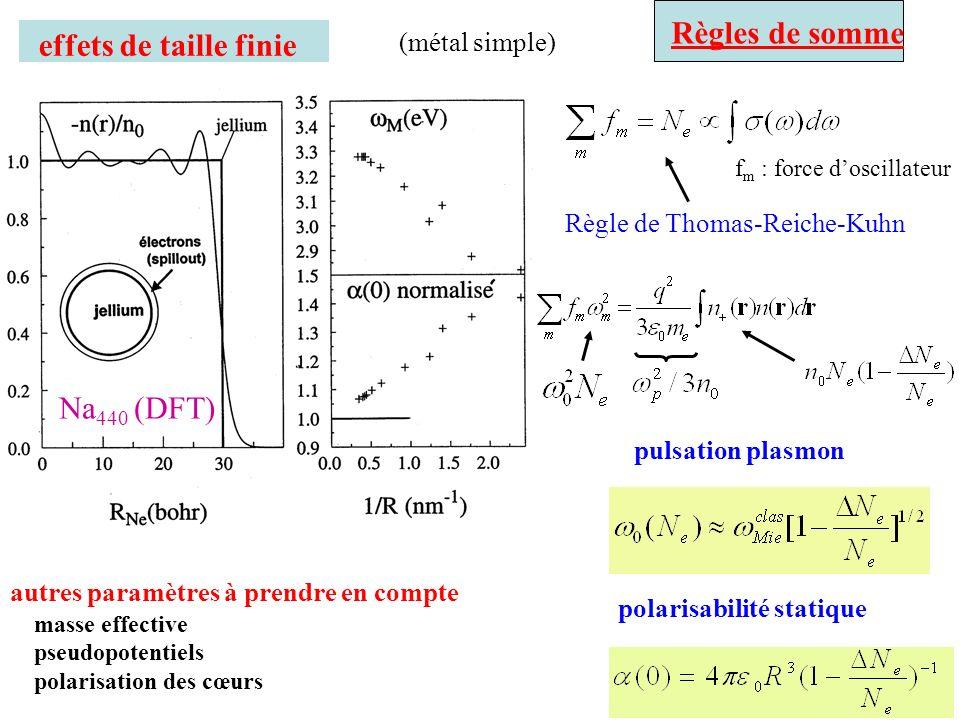 Règles de somme effets de taille finie Na440 (DFT) (métal simple)