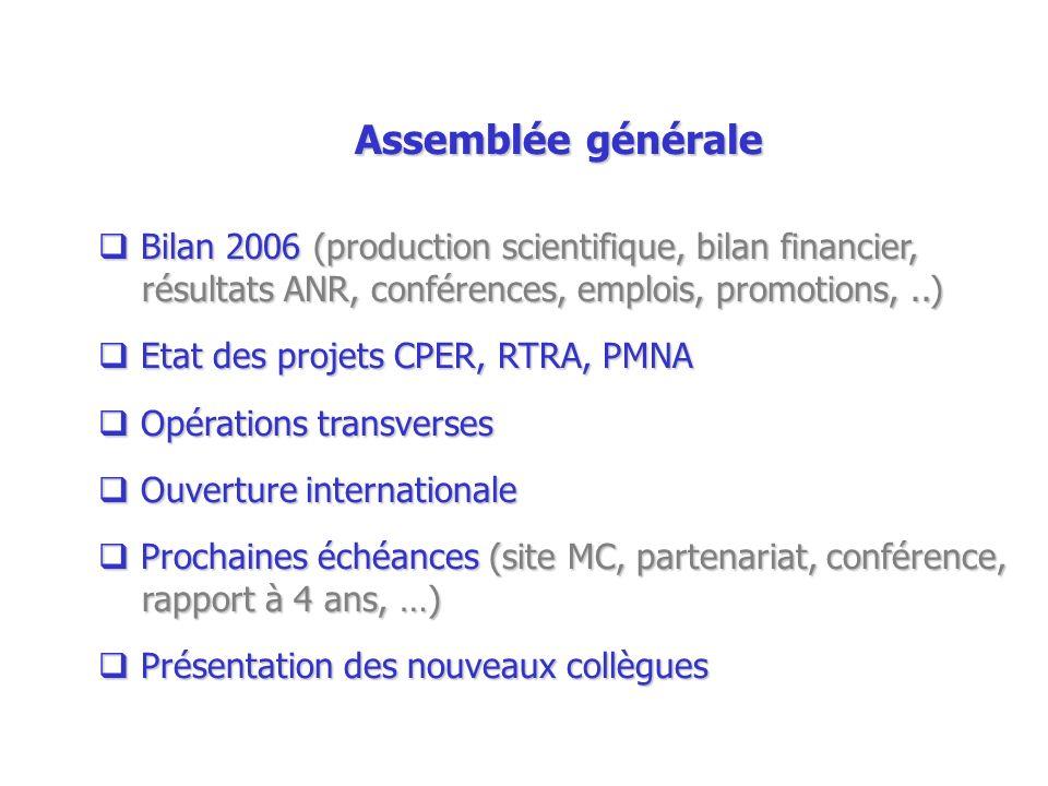 Assemblée généraleBilan 2006 (production scientifique, bilan financier, résultats ANR, conférences, emplois, promotions, ..)