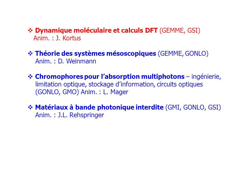 Dynamique moléculaire et calculs DFT (GEMME, GSI) Anim. : J. Kortus