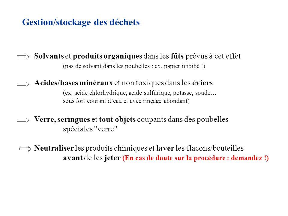 Gestion/stockage des déchets