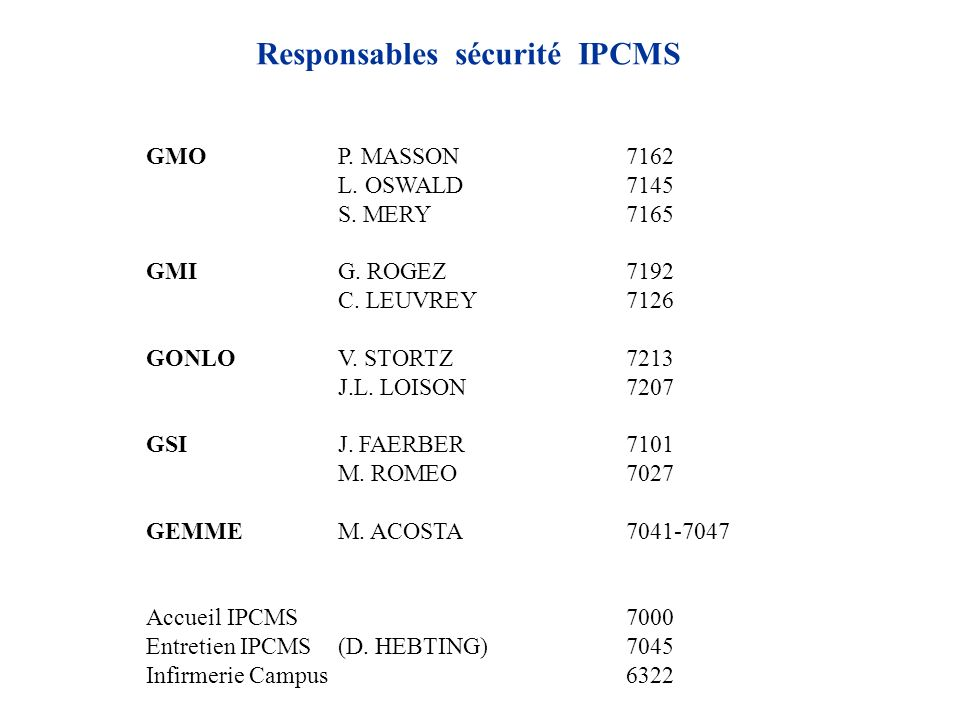 Responsables sécurité IPCMS