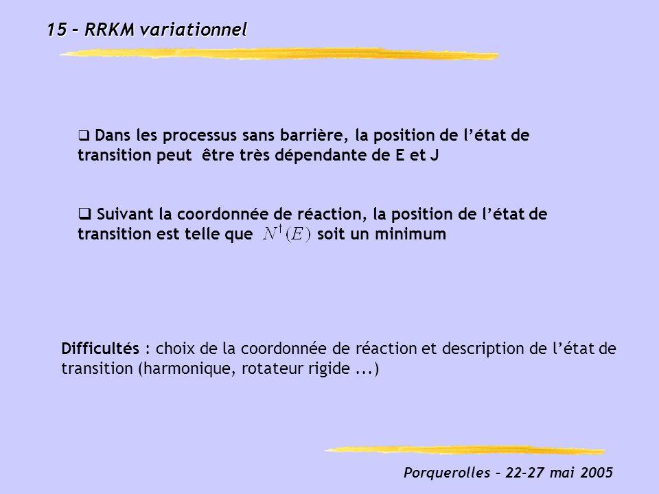 15 – RRKM variationnel Dans les processus sans barrière, la position de l'état de transition peut être très dépendante de E et J.