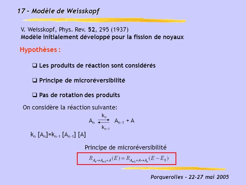 17 – Modèle de Weisskopf Hypothèses :