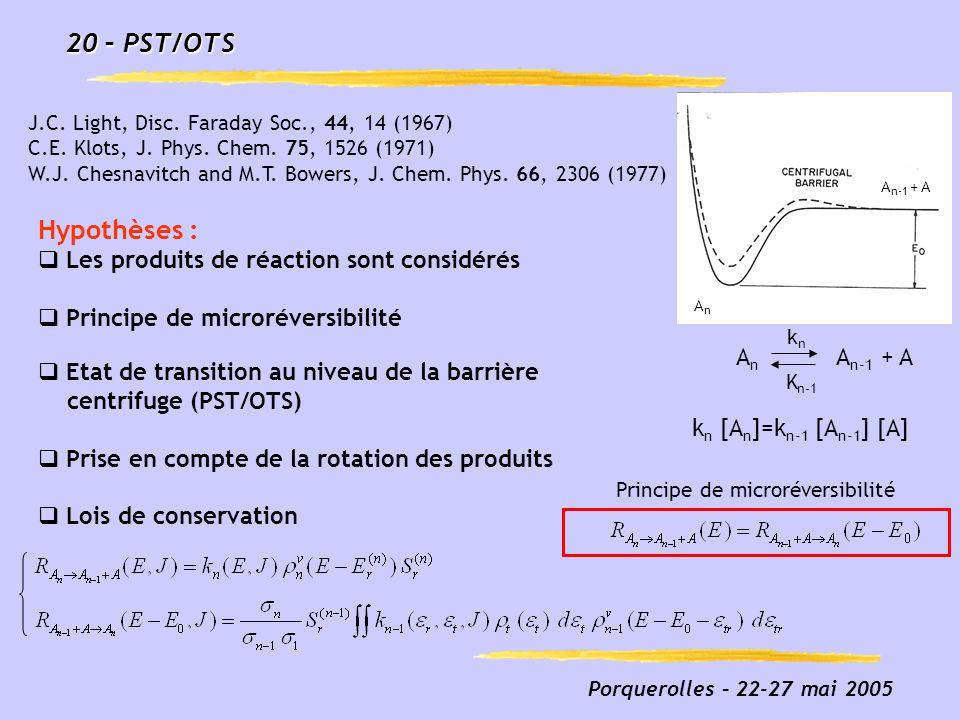 20 – PST/OTS Hypothèses : Les produits de réaction sont considérés