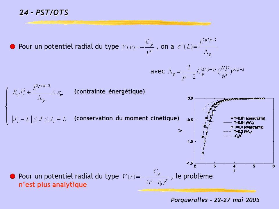 24 – PST/OTS Pour un potentiel radial du type , on a avec