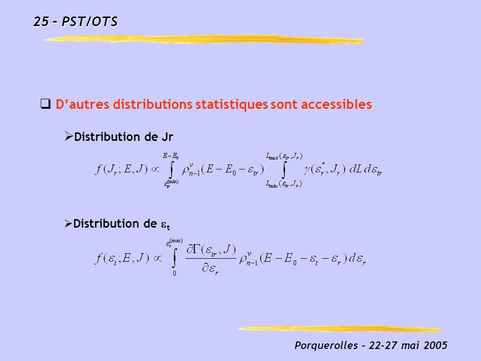 D'autres distributions statistiques sont accessibles