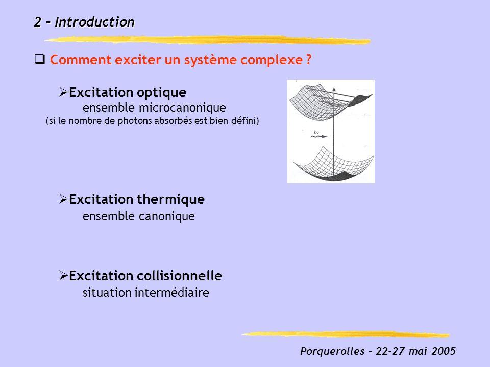 Comment exciter un système complexe Excitation optique