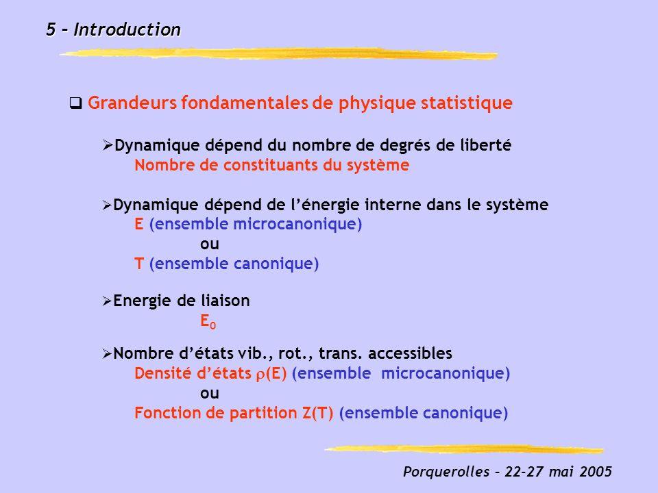 5 – Introduction Grandeurs fondamentales de physique statistique