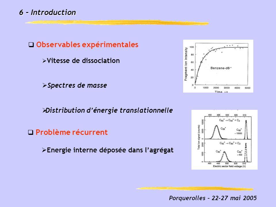 6 – Introduction Observables expérimentales Spectres de masse
