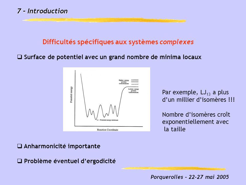 7 – Introduction Difficultés spécifiques aux systèmes complexes