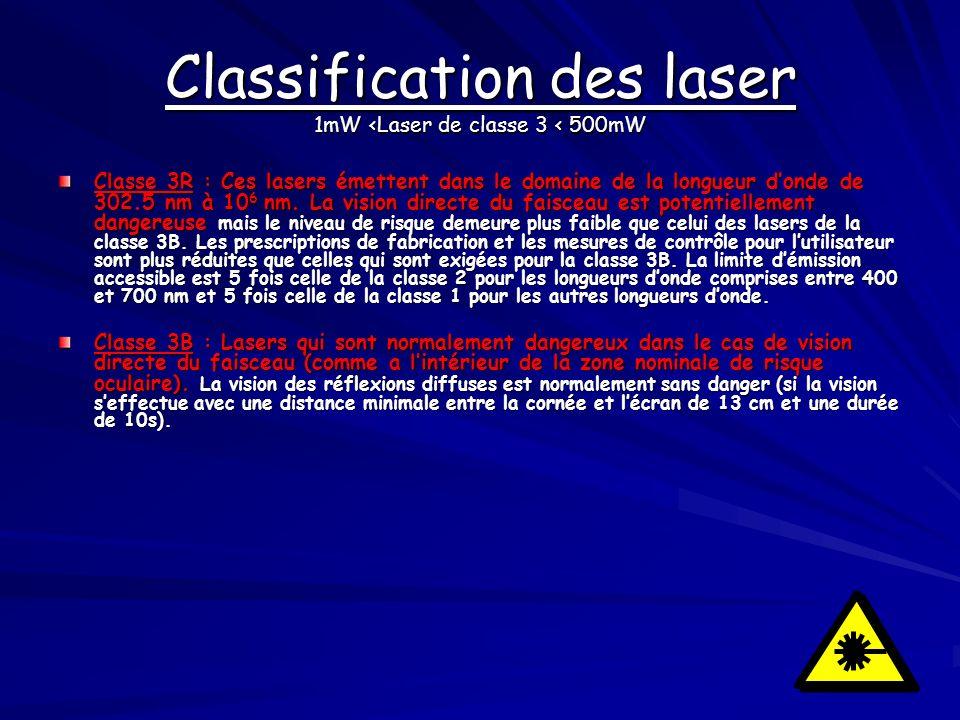 Classification des laser 1mW <Laser de classe 3 < 500mW