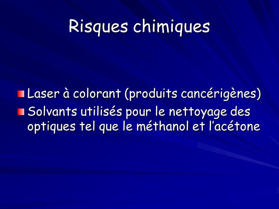 Risques chimiques Laser à colorant (produits cancérigènes)