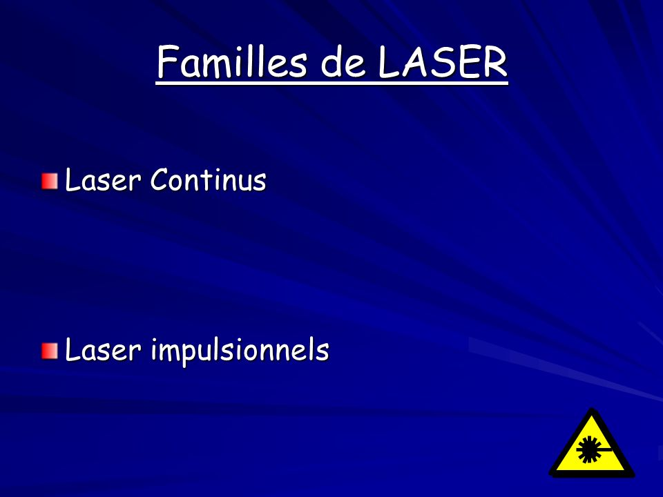 Familles de LASER Laser Continus Laser impulsionnels