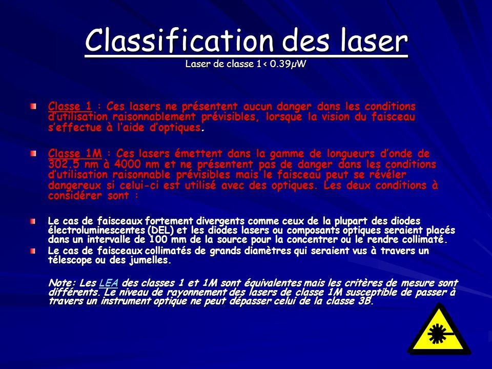 Classification des laser Laser de classe 1 < 0.39µW
