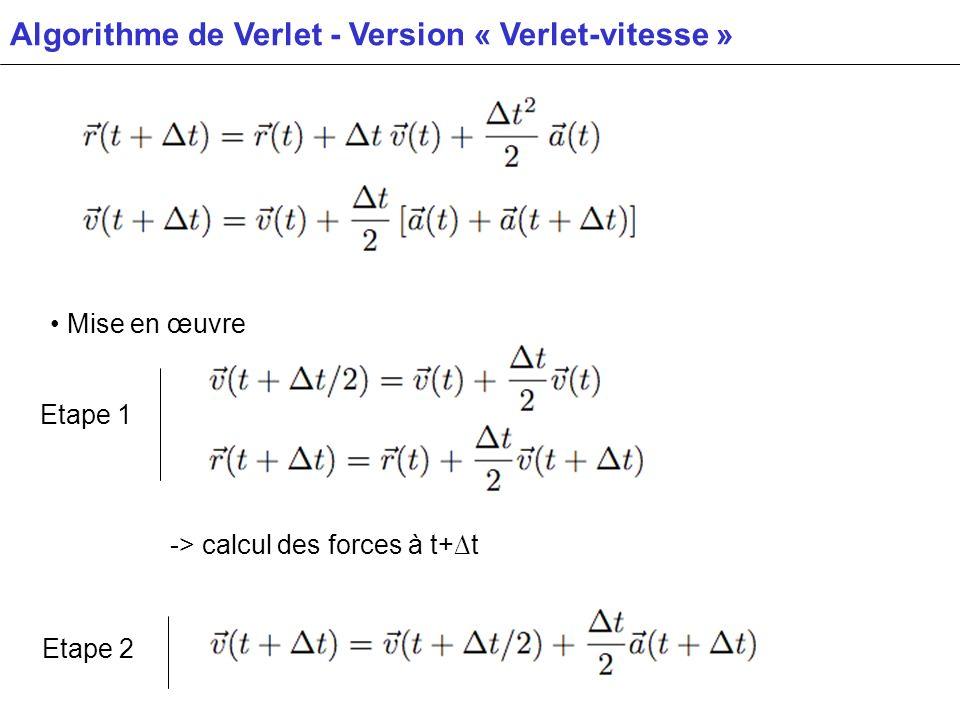 Algorithme de Verlet - Version « Verlet-vitesse »