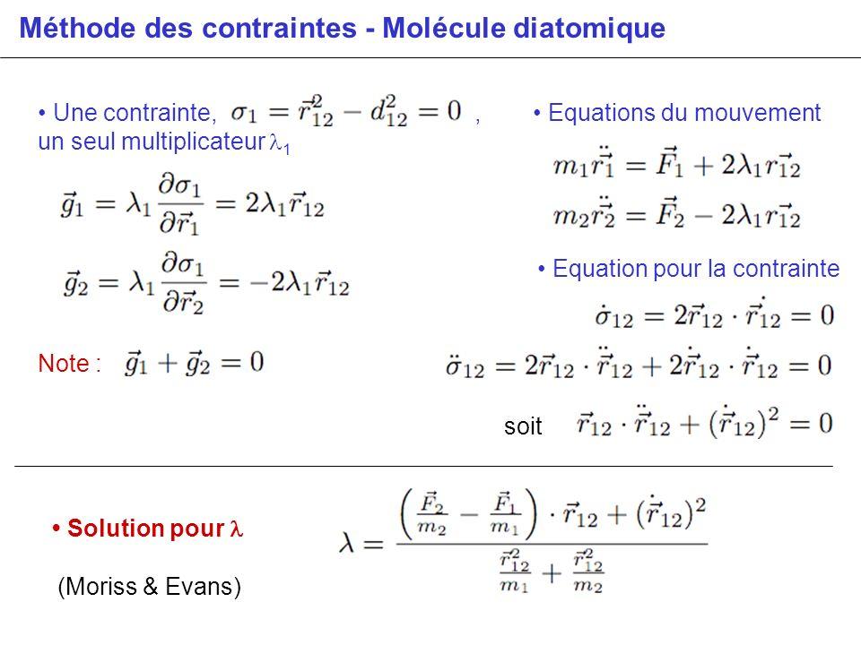 Méthode des contraintes - Molécule diatomique