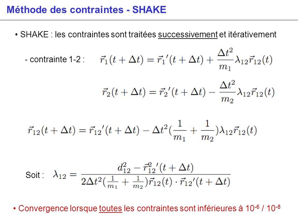 Méthode des contraintes - SHAKE