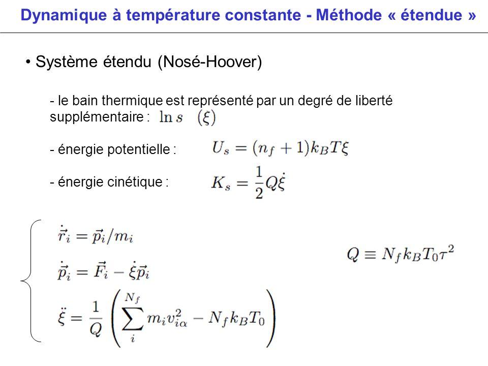 Dynamique à température constante - Méthode « étendue »