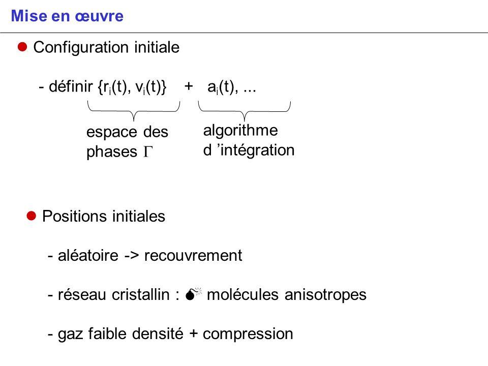 Mise en œuvre Configuration initiale. - définir {ri(t), vi(t)} + ai(t), ... espace des phases G.
