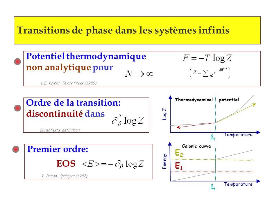 Transitions de phase dans les systèmes infinis