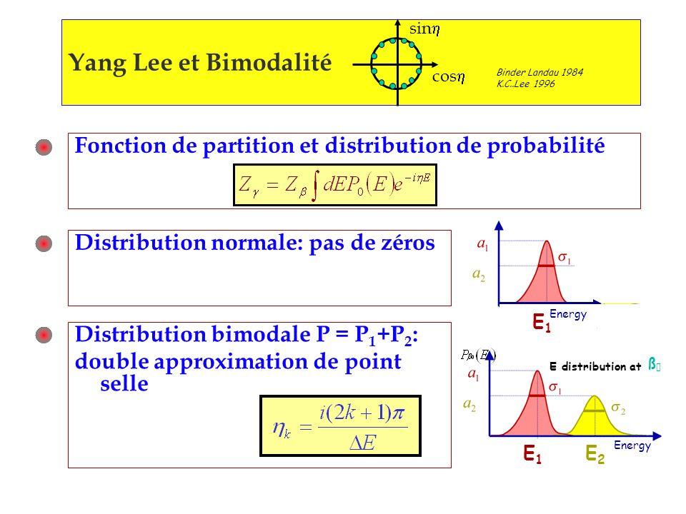 sinh cosh. Yang Lee et Bimodalité. Binder Landau 1984. K.C..Lee 1996. Fonction de partition et distribution de probabilité.