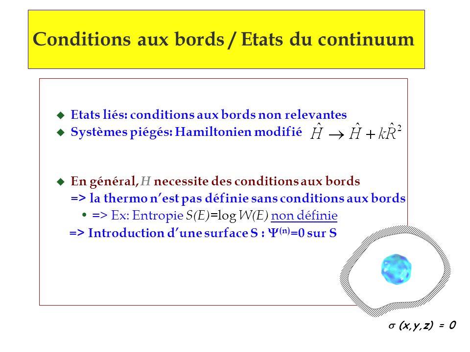Conditions aux bords / Etats du continuum