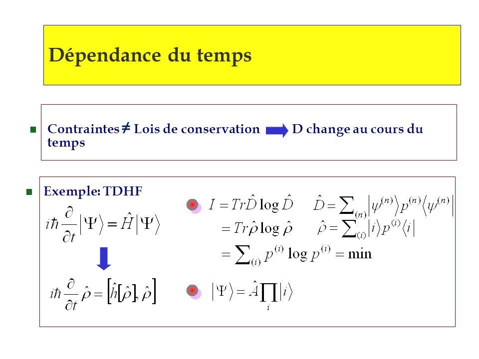 Dépendance du temps Contraintes ≠ Lois de conservation D change au cours du temps.