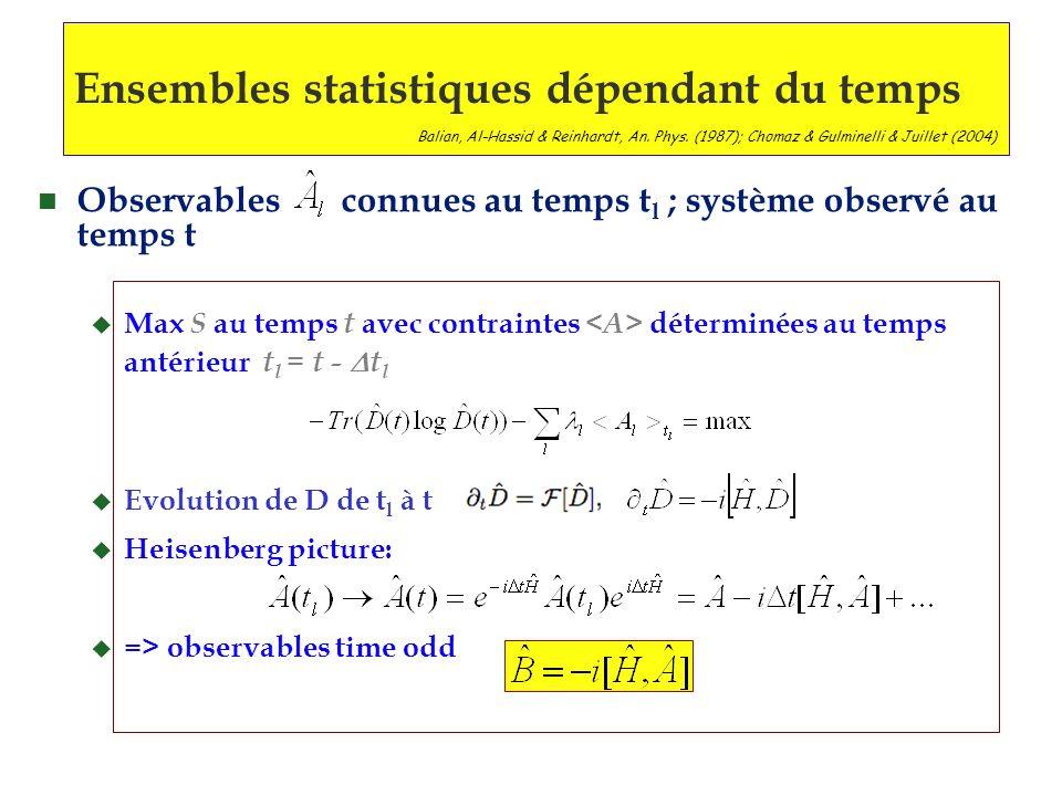 Ensembles statistiques dépendant du temps