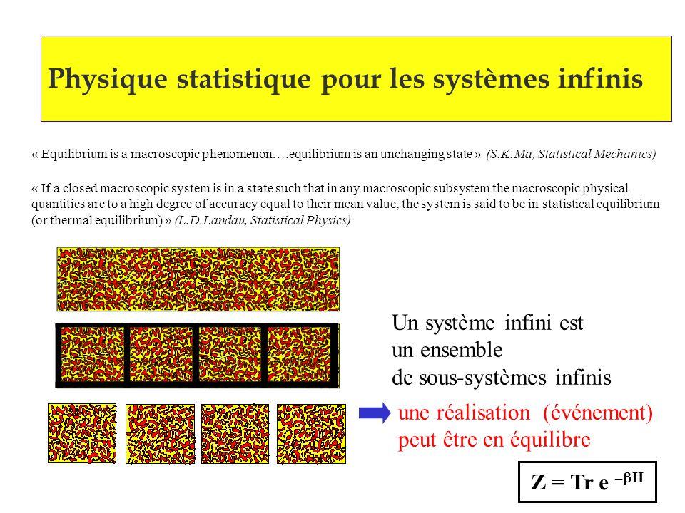 Physique statistique pour les systèmes infinis