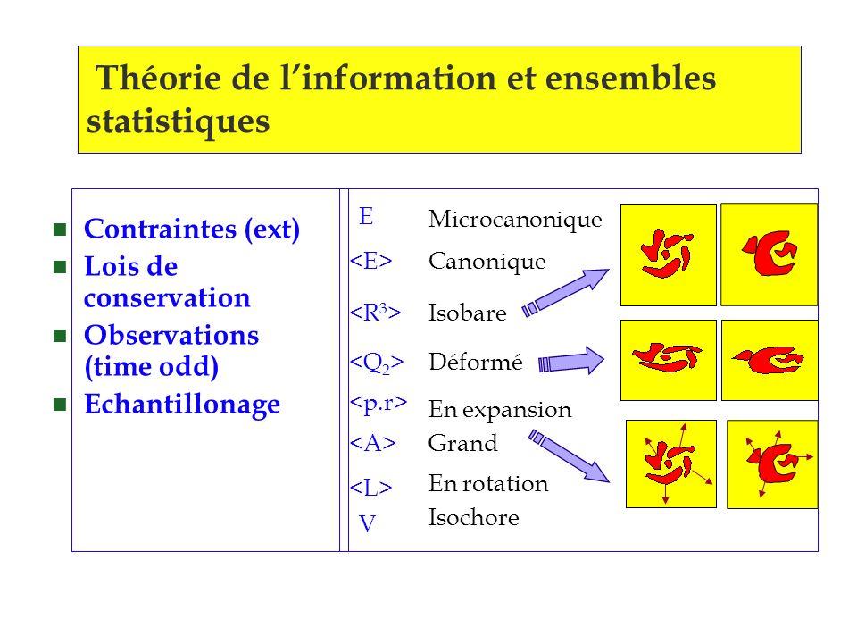 Théorie de l'information et ensembles statistiques