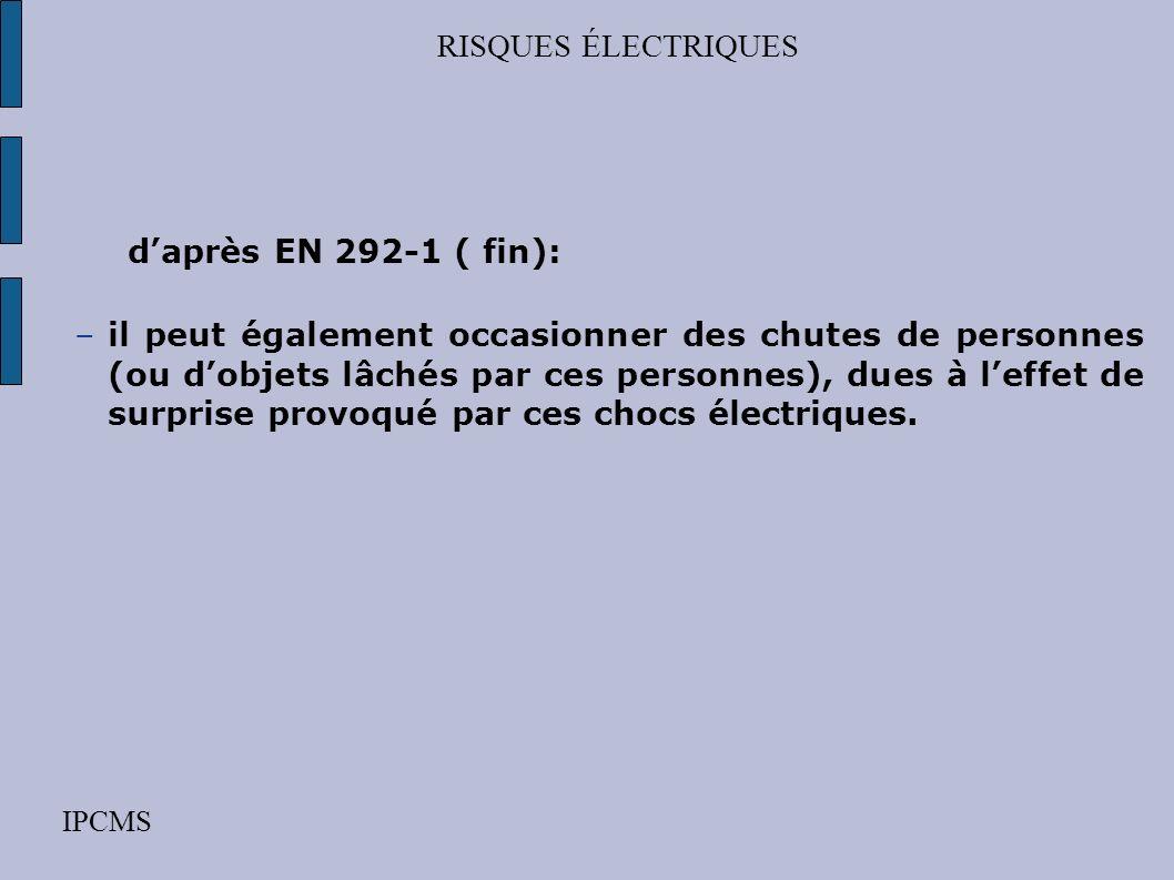 RISQUES ÉLECTRIQUES d'après EN 292-1 ( fin):