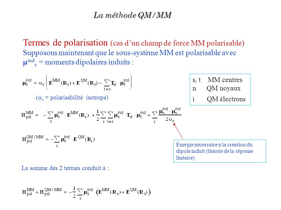 Termes de polarisation (cas d'un champ de force MM polarisable)