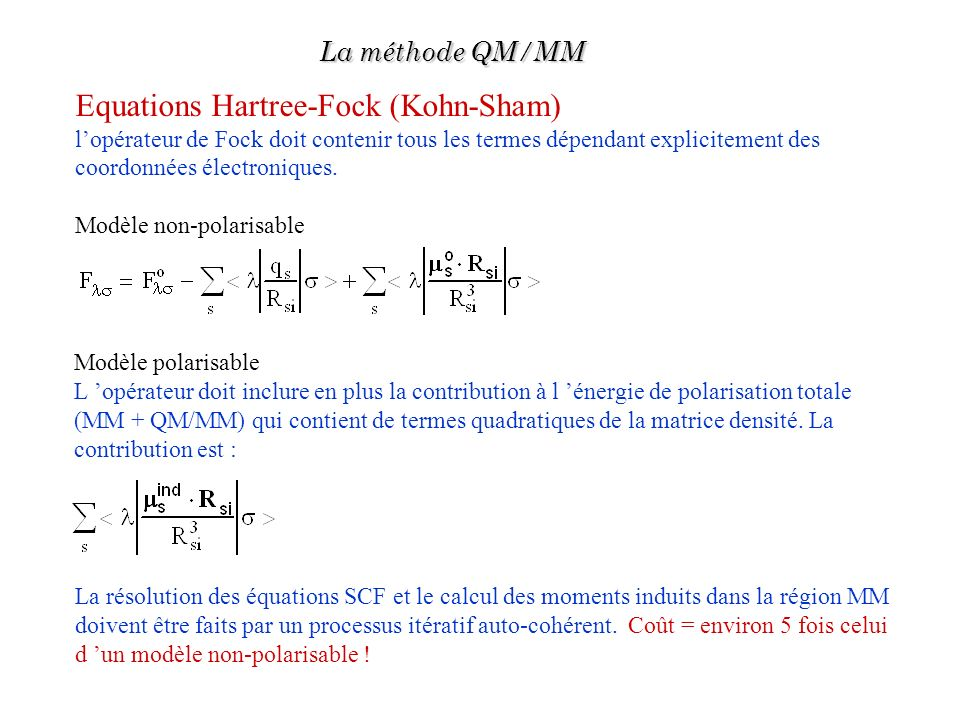 Equations Hartree-Fock (Kohn-Sham)