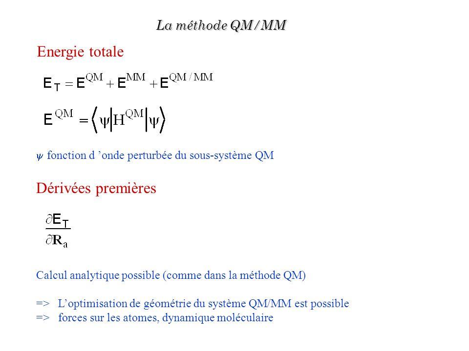 Energie totale Dérivées premières La méthode QM/MM