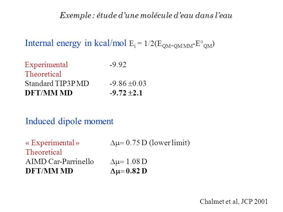 Internal energy in kcal/mol Ei = 1/2(EQM+QM/MM-E°QM)