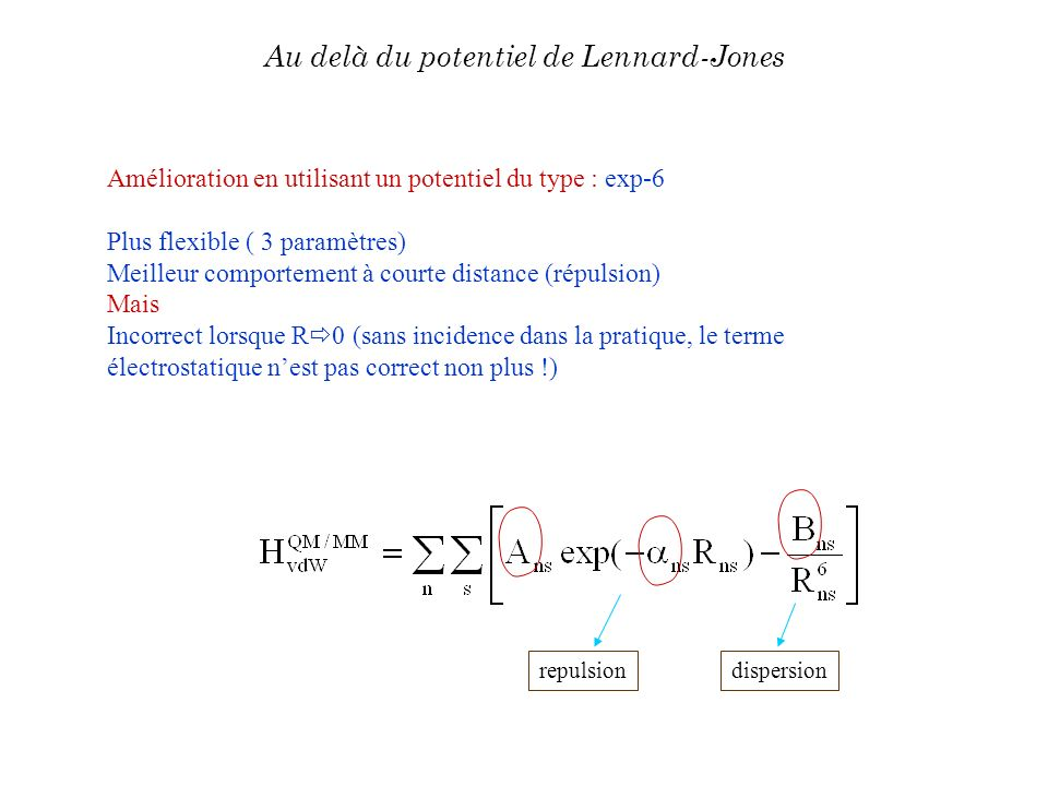 Au delà du potentiel de Lennard-Jones