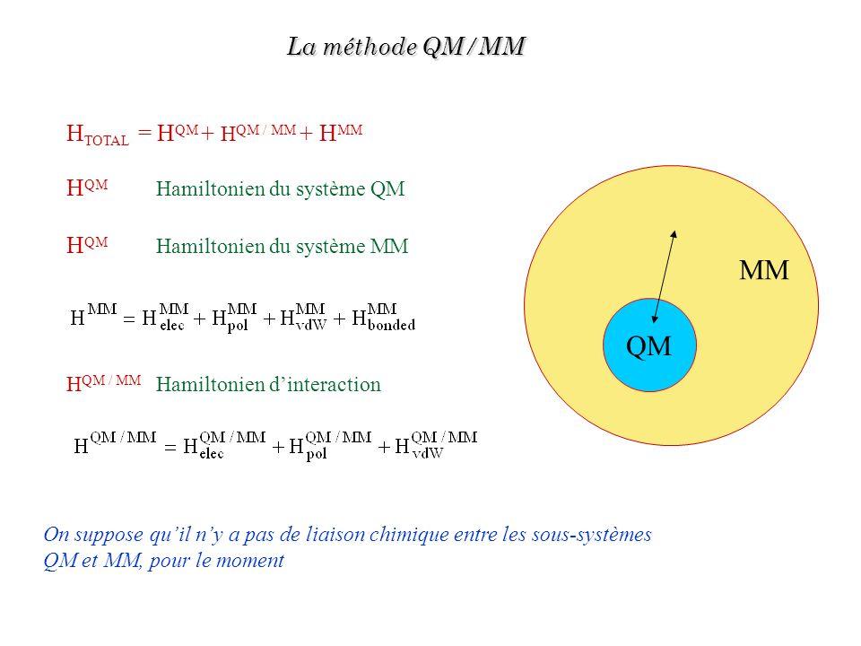 MM QM La méthode QM/MM HTOTAL = HQM + HQM / MM + HMM