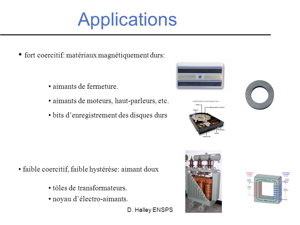 Applications fort coercitif: matériaux magnétiquement durs: