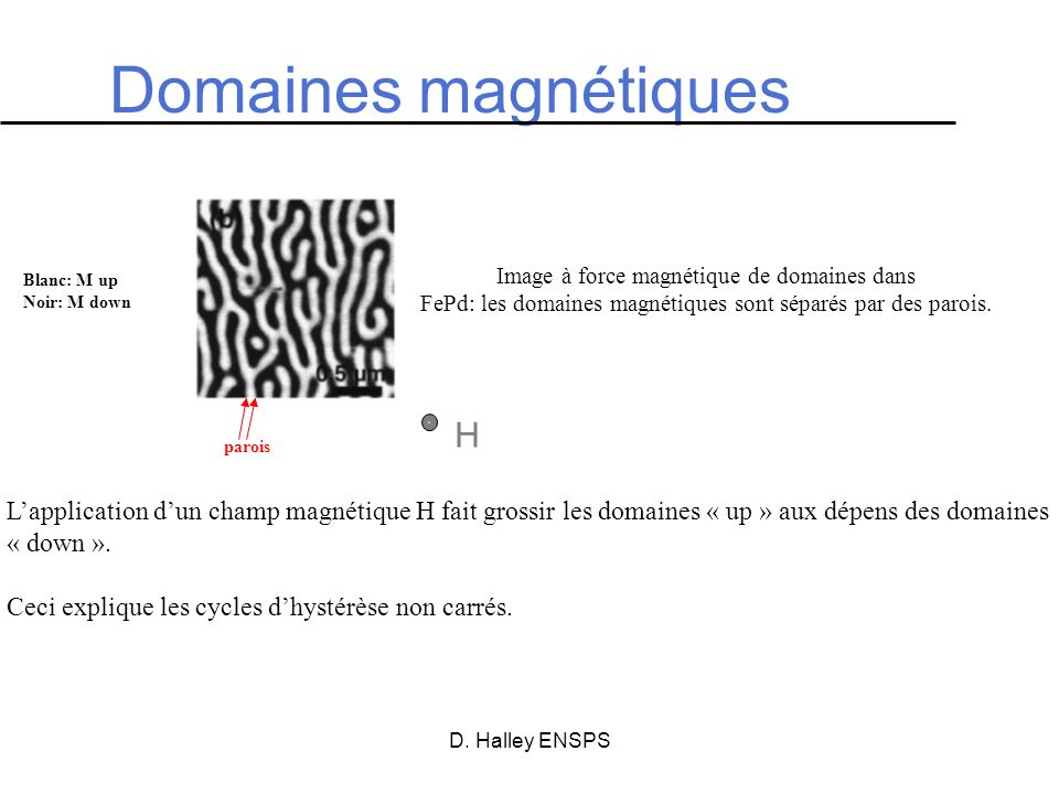 Domaines magnétiques H