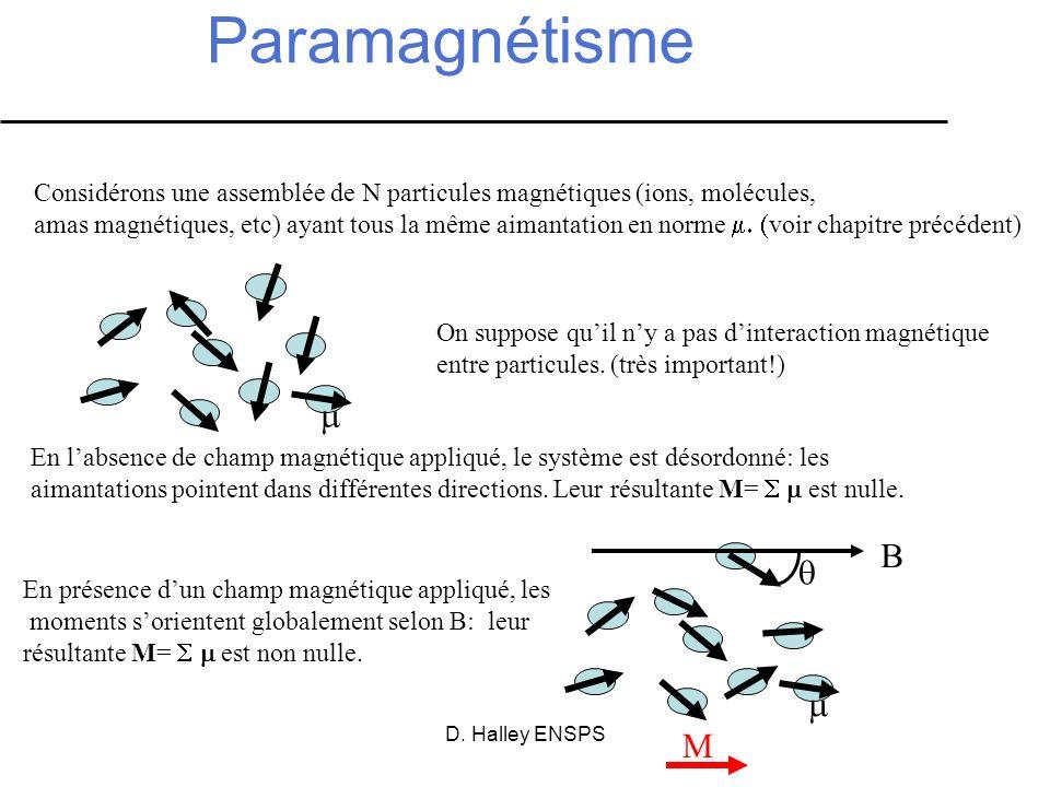 Paramagnétisme Considérons une assemblée de N particules magnétiques (ions, molécules,