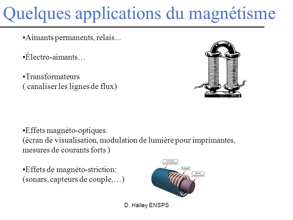 Quelques applications du magnétisme