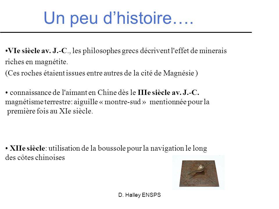 Un peu d'histoire….VIe siècle av. J.-C., les philosophes grecs décrivent l effet de minerais. riches en magnétite.
