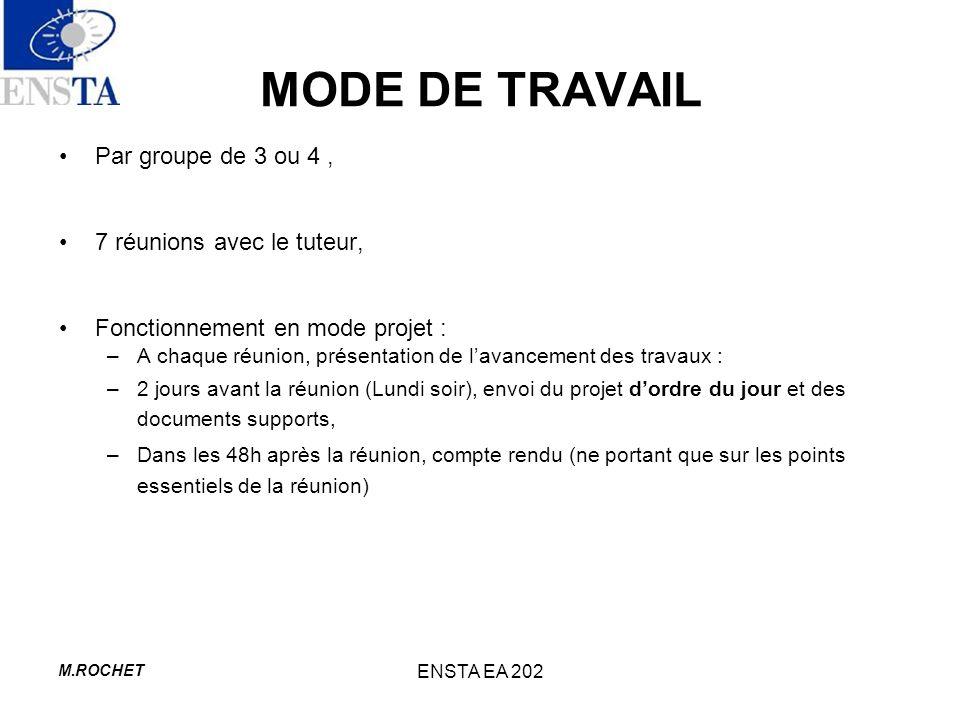 MODE DE TRAVAIL Par groupe de 3 ou 4 , 7 réunions avec le tuteur,
