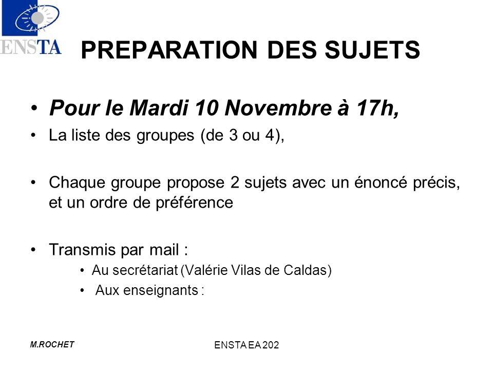PREPARATION DES SUJETS