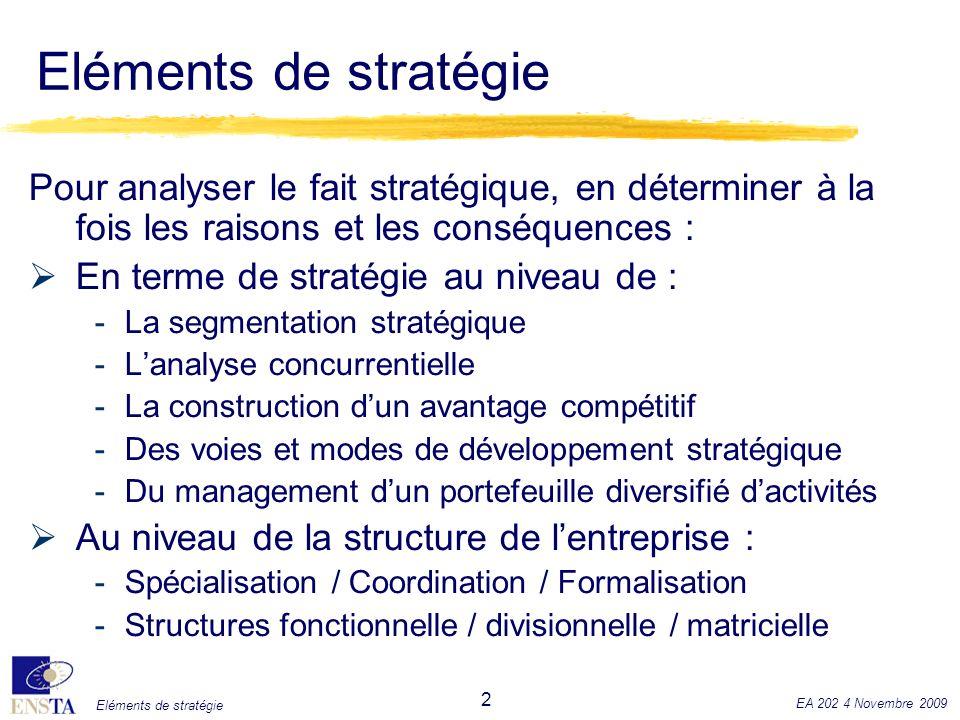 Eléments de stratégie Pour analyser le fait stratégique, en déterminer à la fois les raisons et les conséquences :
