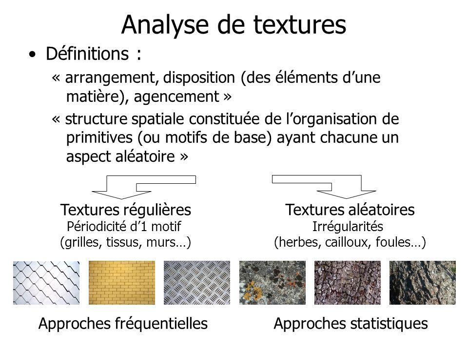 Analyse de textures Définitions :