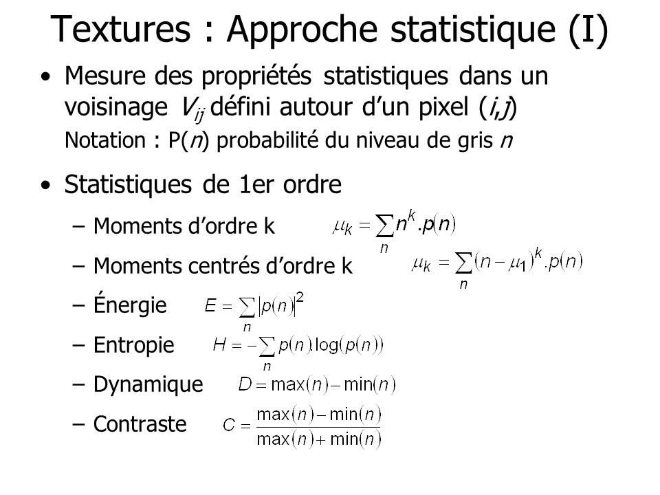 Textures : Approche statistique (I)