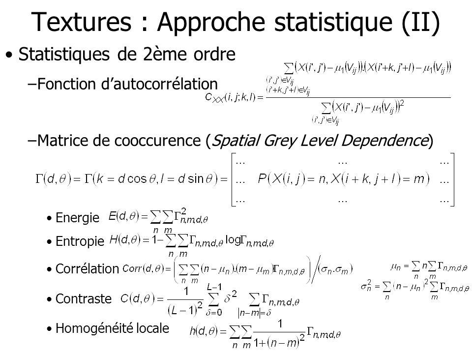Textures : Approche statistique (II)