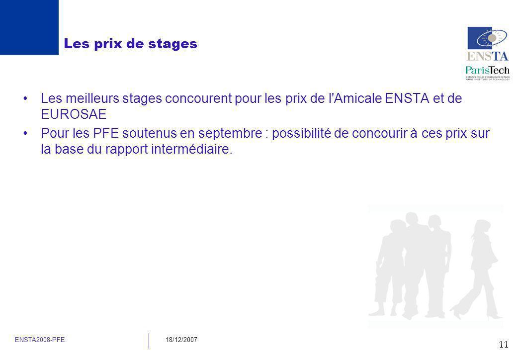 Les prix de stagesLes meilleurs stages concourent pour les prix de l Amicale ENSTA et de EUROSAE.